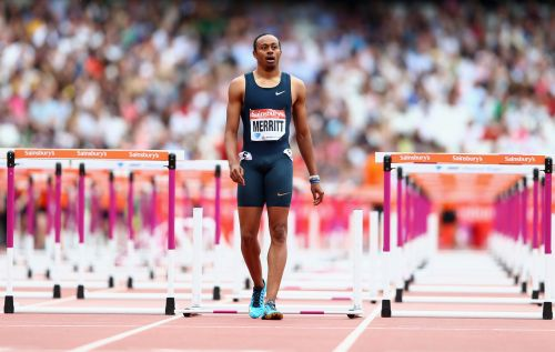 Aries Merritt of the United States walks after being disqualified in the Men's 110m Hurdles Final during day two of the Sainsbury's Anniversary Games - IAAF Diamond League 2013 at The Queen Elizabeth Olympic Park