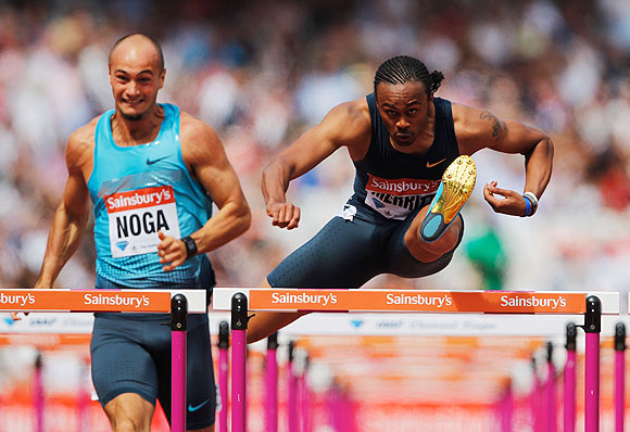 Aries Merritt of the United States competes in the Men's 110m Hurdles semi-final during day two of the Sainsbury's Anniversary Games - IAAF Diamond League 2013 at The Queen Elizabeth Olympic Park in London on Saturday