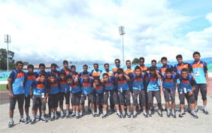 Indian U-16 football pose for a photo-op
