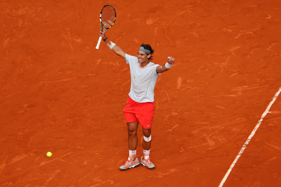 Rafael Nadal of Spain celebrates match point after his match against Stanislas Wawrinka of Switzerland