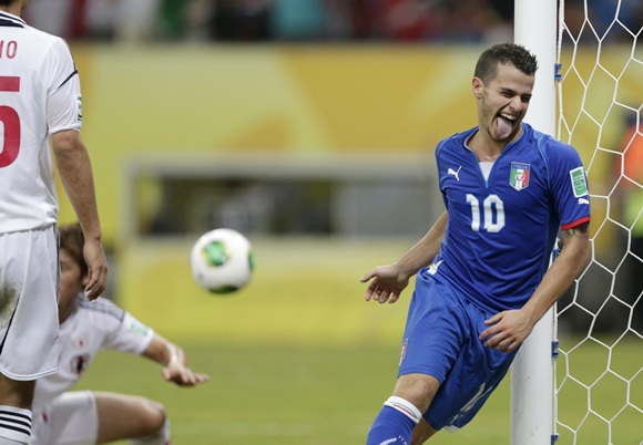 Italy's Sebastian Giovinco celebrates after scoring the winning goal during their Confederations Cup Group A soccer match against Japan
