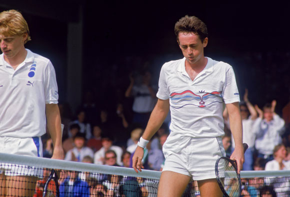 Defending champion Boris Becker of West Germany (left) and unseeded Australian tennis player Peter Doohan in 1987