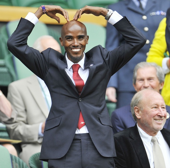 Mo Farah with his trademark pose