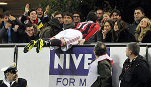 AC Milan's Giampaolo Pazzini celebrates after scoring against Lazio during their Serie A match on Sunday