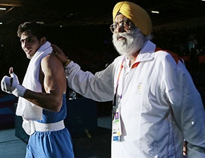 Vijender Singh with coach GS Sandhu