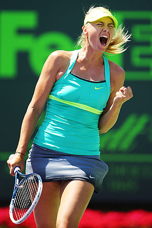 Maria Sharapova celebrates after beating Sara Errani of Itay during the quarter-finals of the Sony Open at the Crandon Park Tennis Center in Key Biscayne, Florida on Wednesday