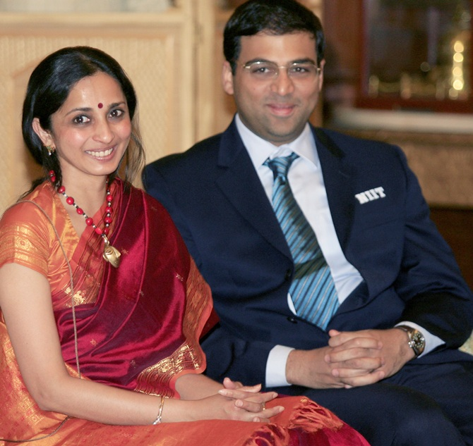 Chess Grand Master Viswanathan Anand (right) and his wife Aruna