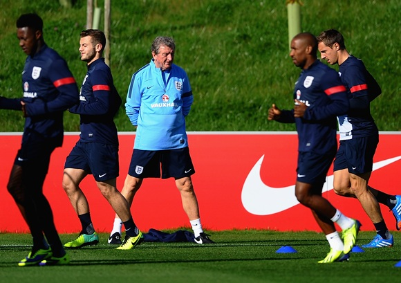 Roy Hodgson of England looks on during a training session