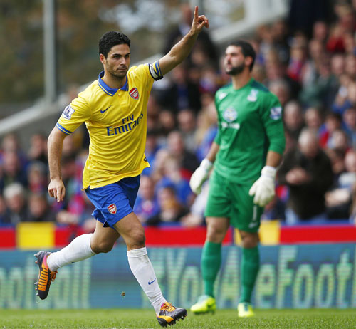 EPL: Arteta scores, then sent off as Arsenal beat Crystal Palace