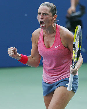 Roberta Vinci celebrates after defeating Giorgi on Monday