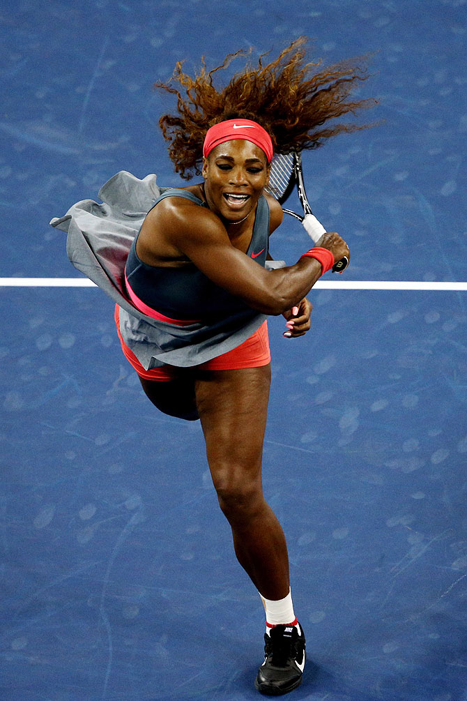 Serena Williams in action against Carla Suarez Navarro on Tuesday