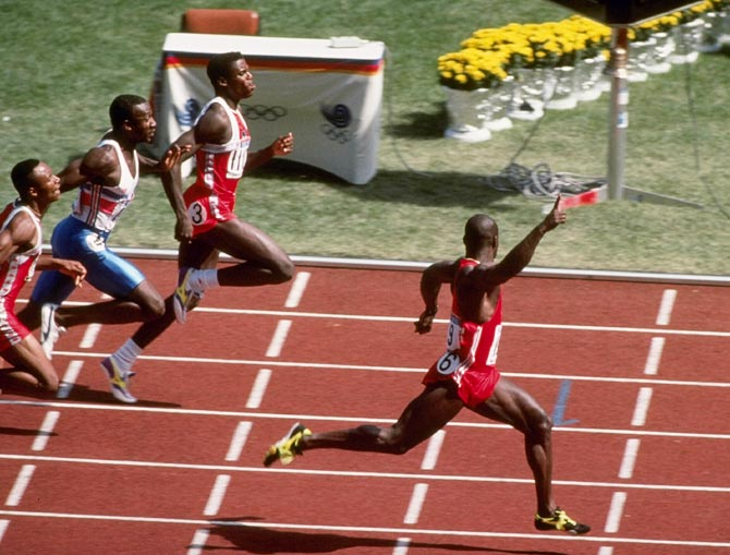 Ben Johnson celebrates after winning the men's 100 metres final during the 1988 Summer Olympic Games in Seoul