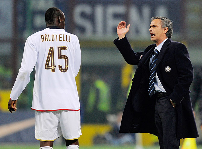 Mario Balotelli receives instructions from coach Jose Mourinho during his time with Inter Milan in 2009