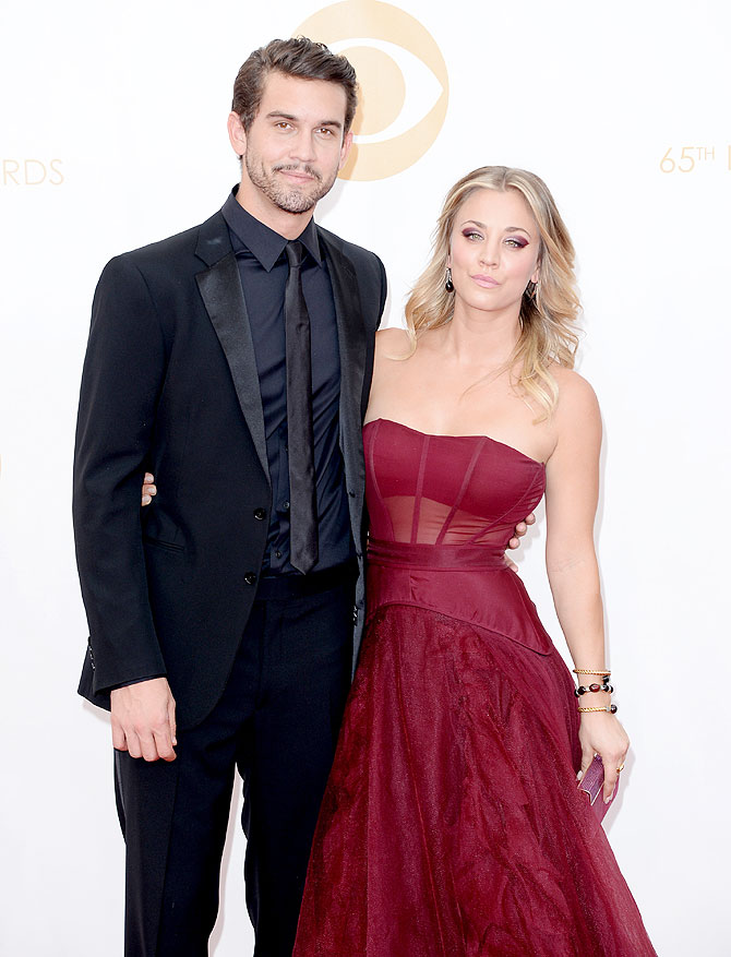 Actress Kaley Cuoco (right) and Ryan Sweeting