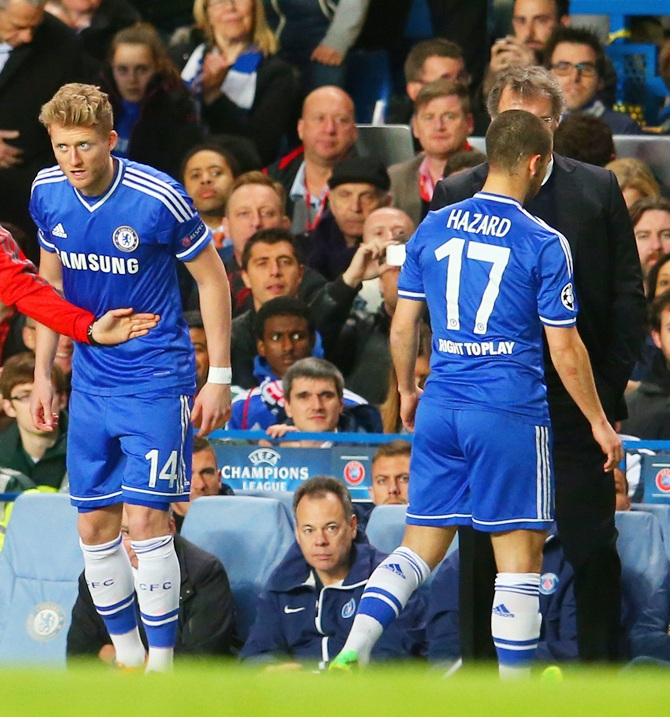 Eden Hazard of Chelsea is replaced by Andre Schurrle of Chelsea