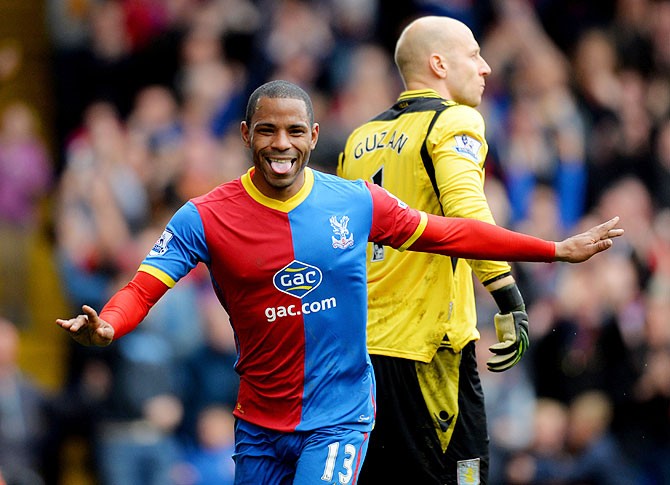 Despair for Brad Guzan of Aston Villa as Jason Puncheon of Crystal Palace celebrates as he scores at Selhurst Park in London on Saturday