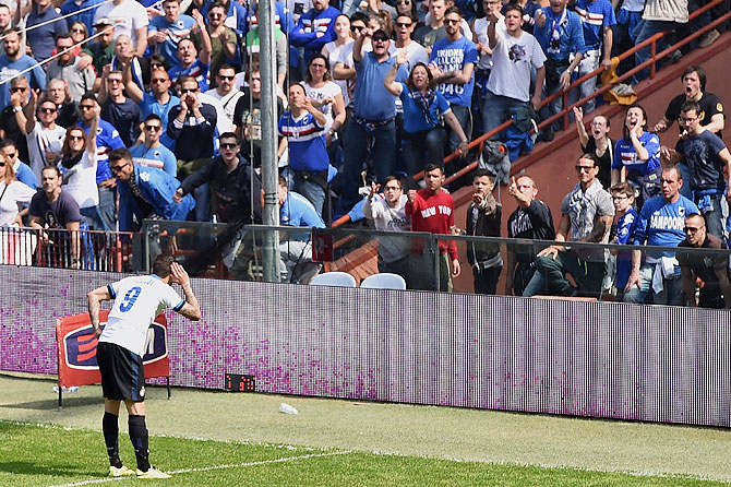 Mauro Icardi of Inter Milan annoys Sampdoria spectators as he celebrates after scoring the opening goal on Sunday