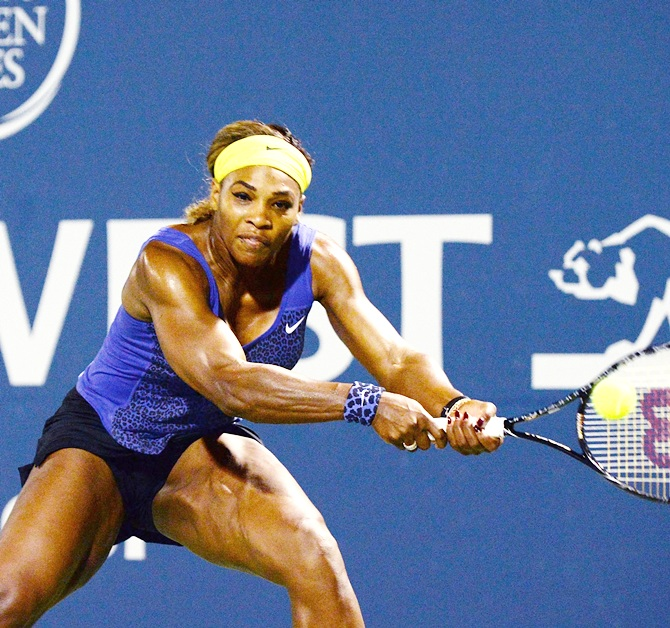 Serena Williams of the United States of America plays against Ana Ivanovic of Serbia