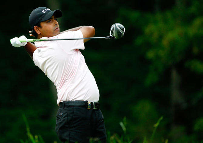 Anirban Lahiri of India hits his tee shot