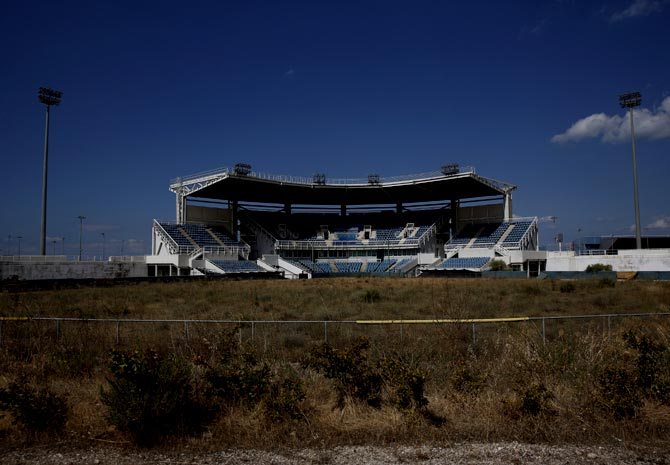 The abandoned stadium which hosted the softball competition during the Athens 2004 Olympic Games