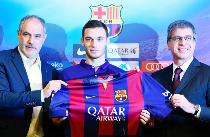 FC Barcelona Sport Director Andoni Zubizarreta (left) and FC Barcelona Vice-President Jordi Mestre as Thomas Vermaelen is unveiled as a new player for FC Barcelona at the Camp Nou stadium on Sunday