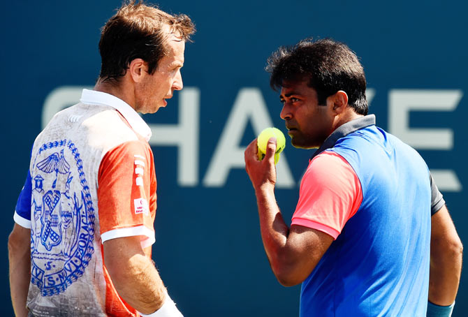 Leander Paes (R) of India and Radek Stepanek of the Czech Republic during their men's doubles match