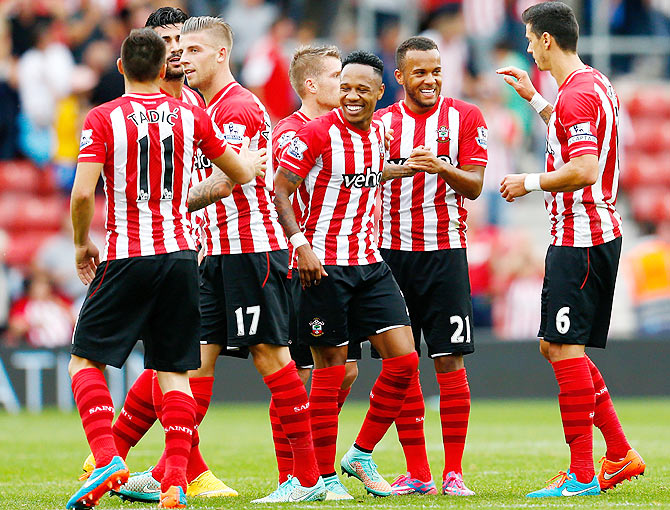 Southampton players celebrate during the English Premier League match against Queens Park Rangers at St Mary's Stadium