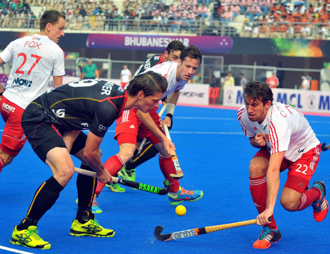 Action from the Champions Trophy hockey match between England and Belgium