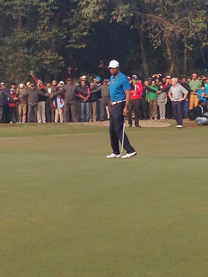 Tiger Woods in action the Delhi Golf Club