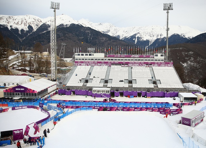 A general view of the grandstand at the Aerials, Half-Pipe and Moguls venue during day two of the Sochi 2014 Winter Olympics.