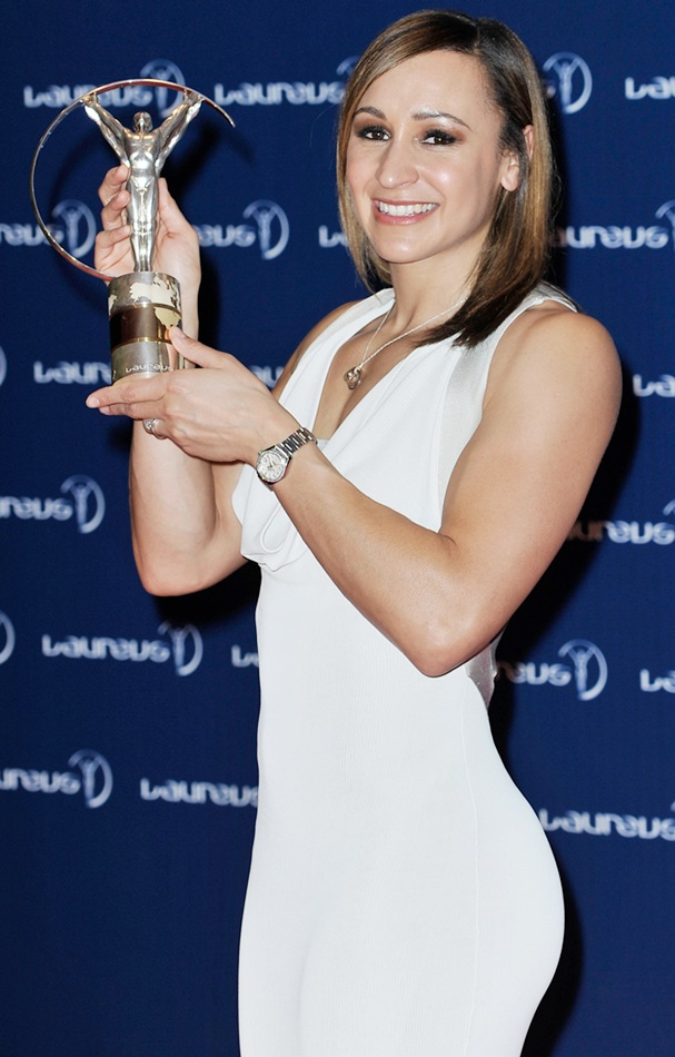 Track and field athlete Jessica Ennis with her award for 'Laureus Sportswomen of the Year'.