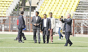 Inaki Alvarez (right) member of the FIFA delegation at the pitch inspection at Cooperage ground in Mumbai on Sunday