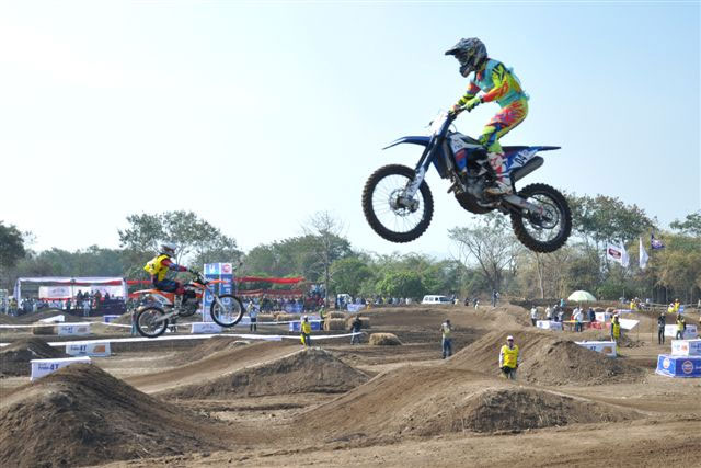 TVS racing's KP Aravind attempts a double jump