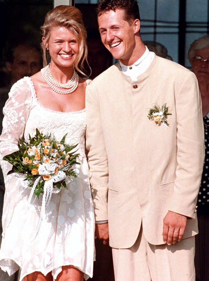 Germany's Formula one   world champion Michael Schumacher and his newlywed wife Corinna
