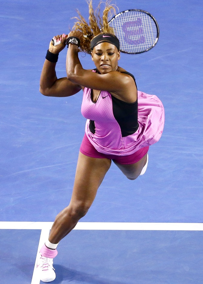 Serena Williams plays a backhand
