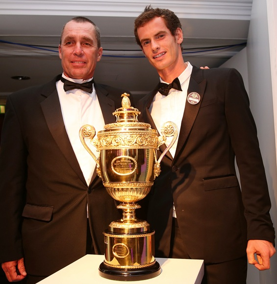 entlemen's Singles Champion Andy Murray of Great Britain poses with Coach Ivan Lendl (left)