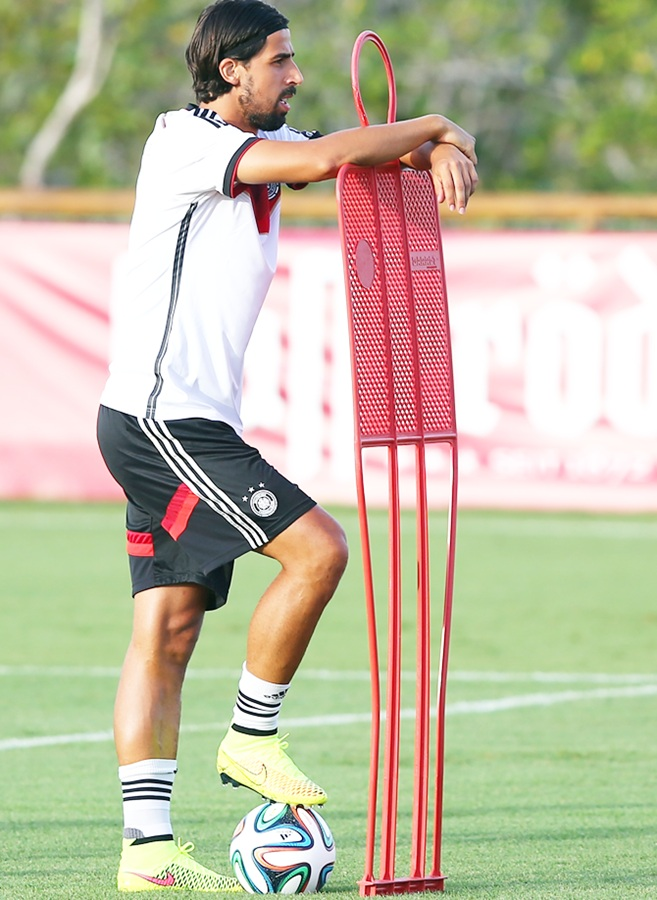 Sami Khedira of Germany looks on during the German national team training