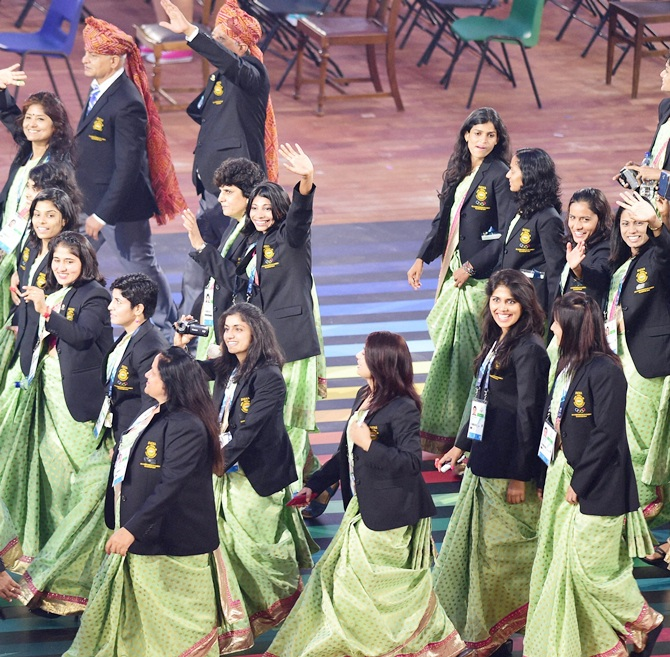Indian athletes opening ceremony for the 2014 Commonwealth Games at Celtic Park in Glasgow