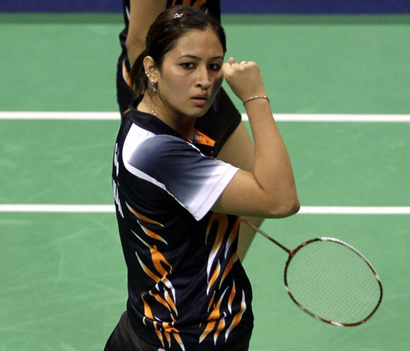 Jwala Gutta celebrates winning a point