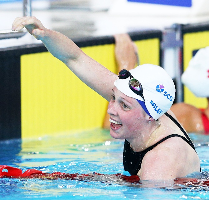 Gold medallist Hannah Miley of Scotland celebrates after winning the Women's 400m Individual Medley Final