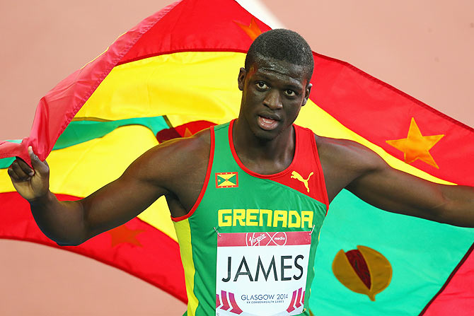 Kirani James of Grenada celebrates winning gold in the Men's 400 metres Final at Hampden Park during day seven of the Glasgow 2014 Commonwealth Games on Wednesday