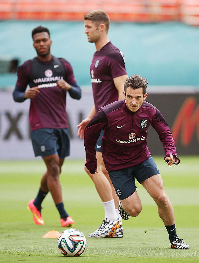 Leighton Baines in action during an England training session at The Sunlife Stadium on June 3, 2014 in Miami, Florida on Tuesday