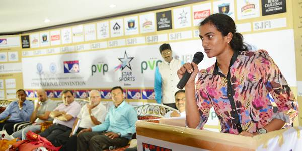 Badminton ace P V Sindhu addresses the SJFI convention in Hyederabd, on Thursday.