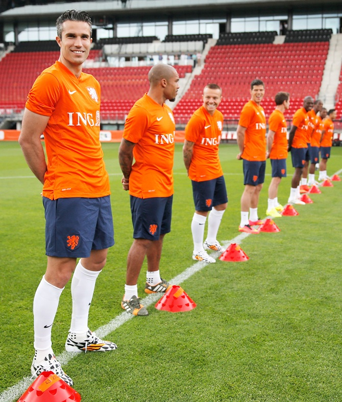 Robin Van Persie (left) of the Netherlands.