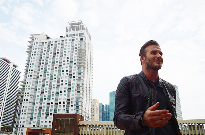 David Beckham at Miami Dade College in downtown Miami