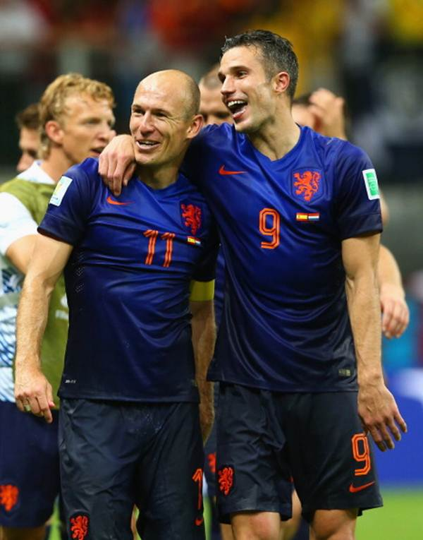 Arjen Robben (left) and Robin van Persie after the match