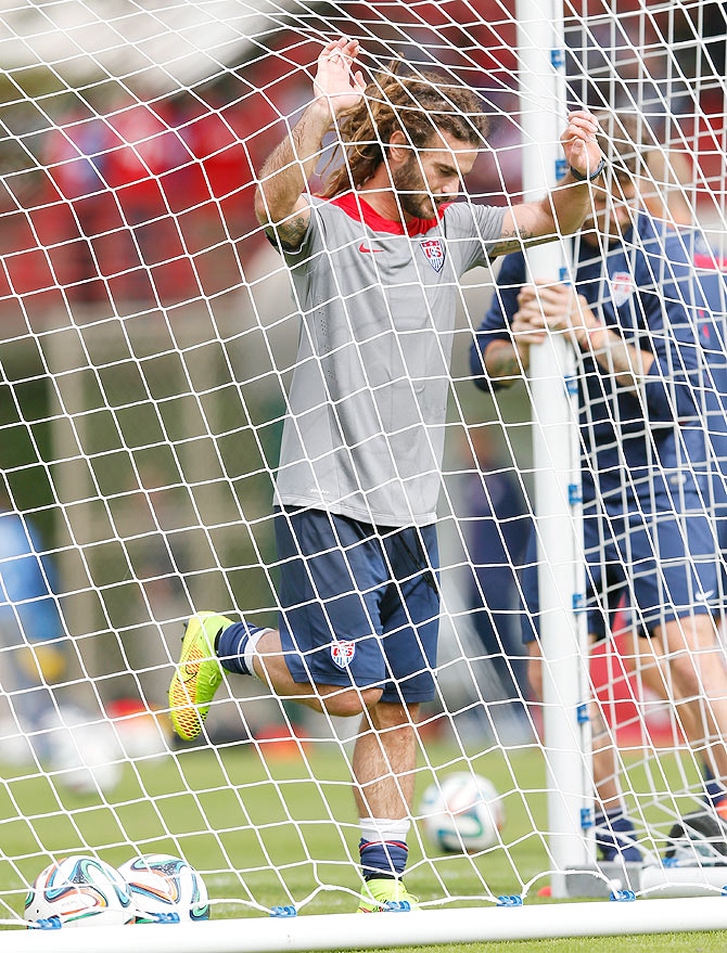 Kyle Beckerman of the United States relaxes during a training session at Sao Paulo FC