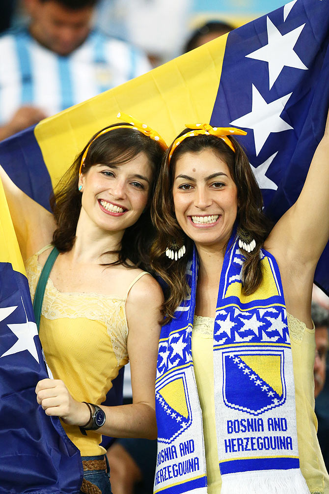 Bosnia and Herzegovina fans in the stands on Sunday
