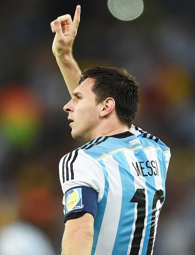 Lionel Messi of Argentina acknowledges the fans after scoring