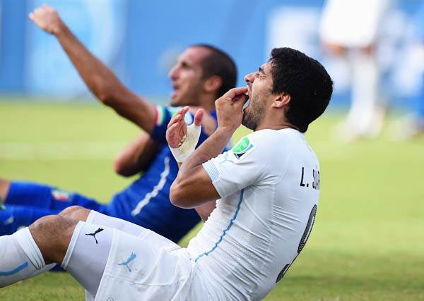Luis Suarez reacts as Giorgio Chiellini indicates to the referee that he was bitten